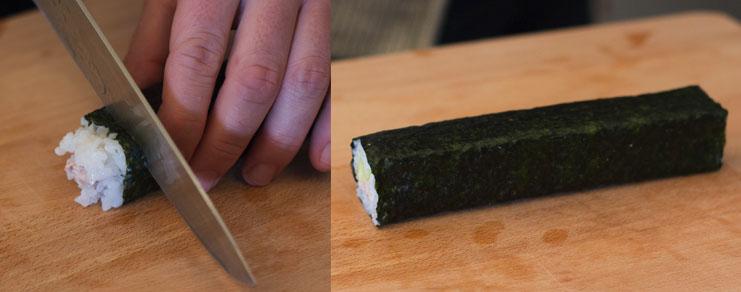 Découpage des extrémités du rouleau de maki sushi