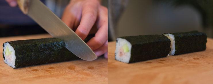 Découpage du rouleau de maki en deux parties