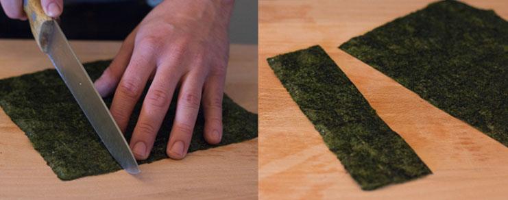 Découpe de la feuille de nori pour la préparation de maki sushi