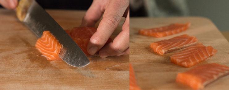 decoupe du saumon cru pour sushi nigiri