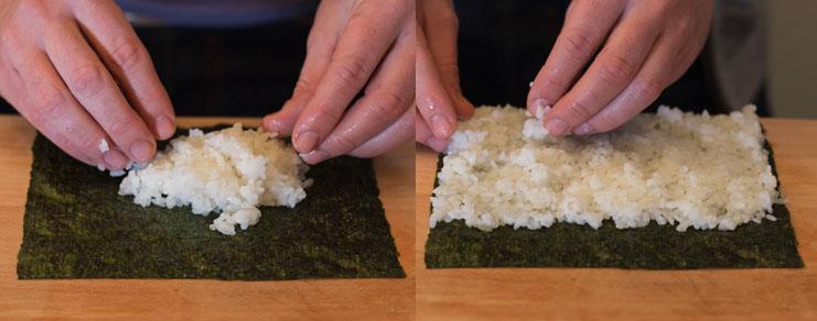 L'étalage du riz sur la feuille de nori pour les maki sushis thon concombre