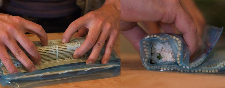 Dernière étape du roulage du maki sushi au thon et concombre