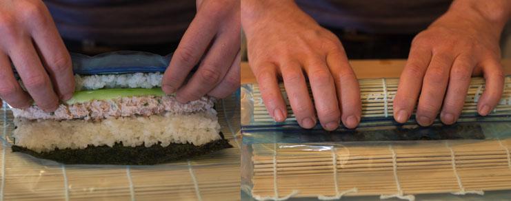 Roulage du maki sushi au thon et au concombre