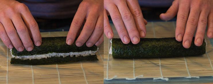 Suite du roulage du maki sushi thon au fromage blanc et concombre