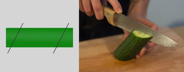 technique de la découpe du concombre de façon symétrique pour la réalisation de l'arche