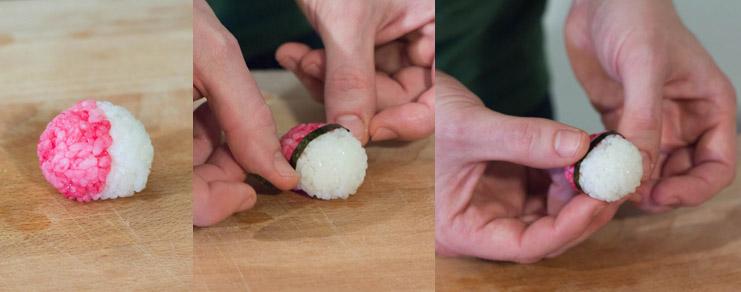 Comment déposer la bande de nori sur la pokéball