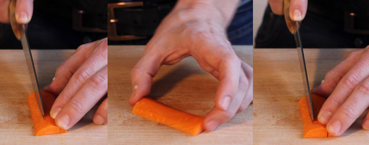 découpage des entailles dans le rectangle de carotte