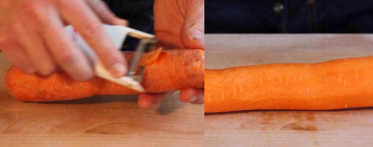 épluchage d'une carotte pour la réalisation du triangle de carotte.