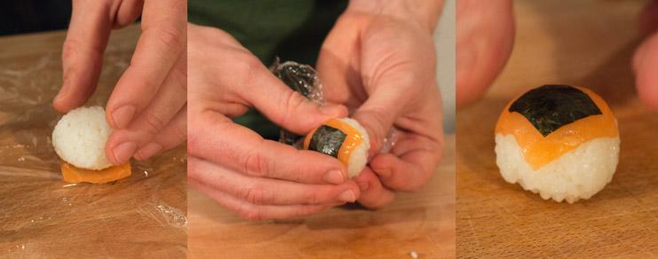 Image montrant comment mettre en forme la sushi ball