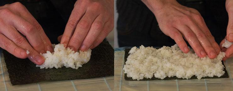 étalage du riz pour sushi sur la feuille de nori