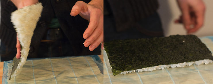 Renversement de la feuille de nori avec le riz pour sushi