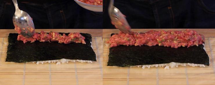 Dépose de la garniture du sushi spécial Saint-Valentin