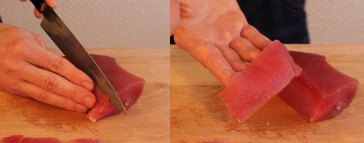 Découpe d'un pavé de thon en lamelles