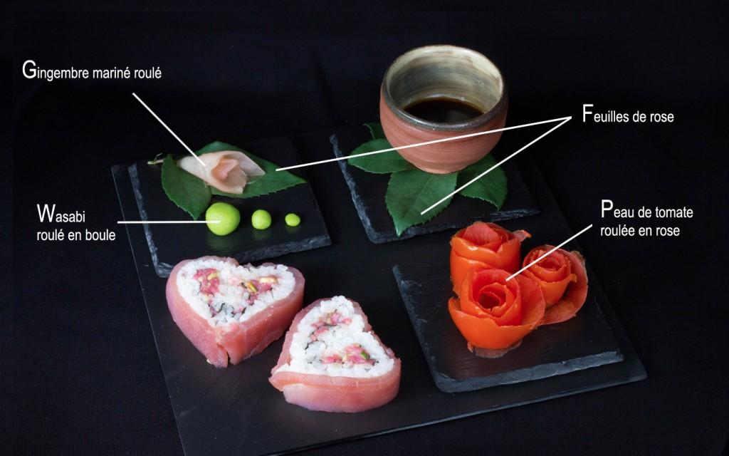 Explication de l'origine des décors pour le sushi spécial Saint-Valentin