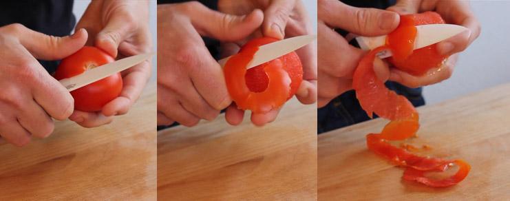 Comment éplucher une tomate  pour en faire une rose