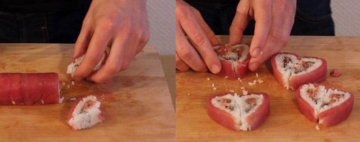 Assemblage des sushis qui forment un coeur