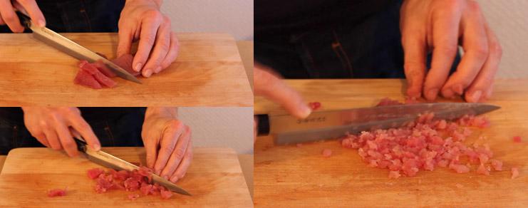Hachage du thon pour le sushi spécial Saint-Valentin
