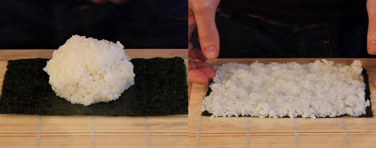 Dépose du riz sur la feuille de nori