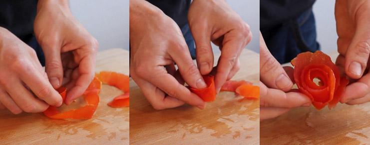Comment bien rouler une tomate pour en faire une rose