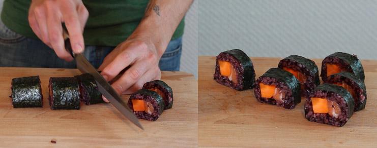 Sushi Orange Mécanique  futomaki au saumon et à la carotte -> Decoration Mecanique